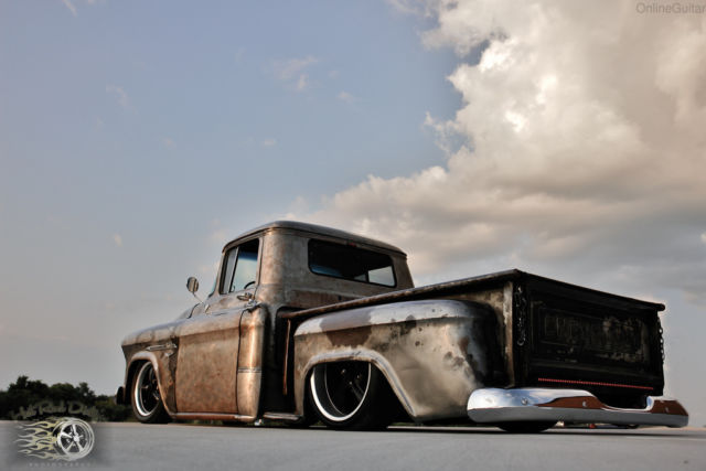 1956 bare metal patina 3100 Apache hot rod.