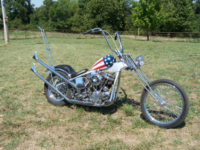Captain America Custom Chopper /w 1950's Harley Panhead Engine