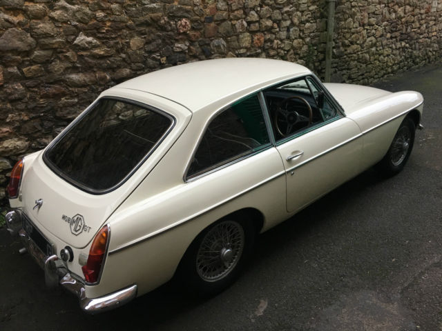 1968 MGB GT Man with O/D Old English White & Black Leather Interior