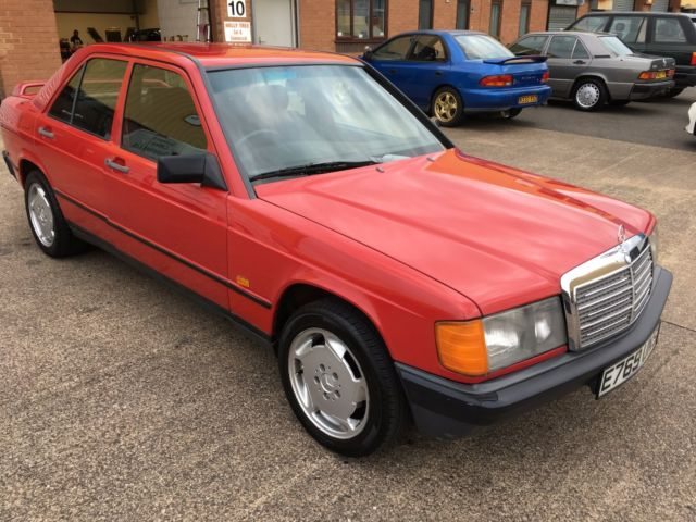 1987 E MERCEDES 190E 2.0 5 SPEED MANUAL,BRILLIANT RED,NICE MILEAGE,NO RESERVE!