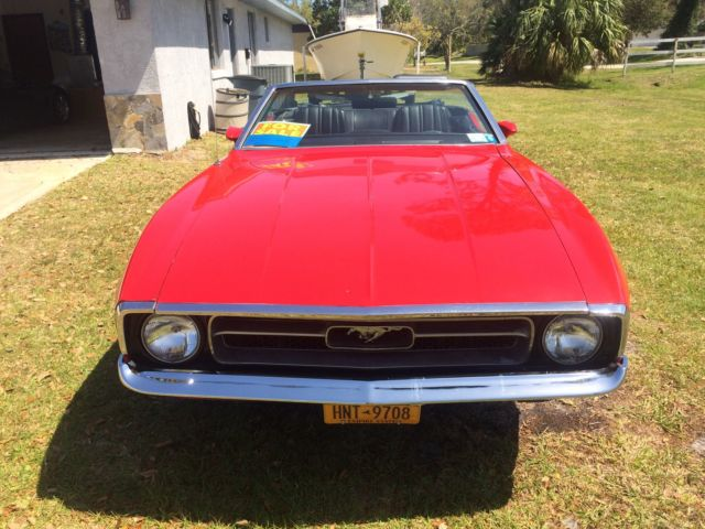 1971 Mustang convertible 6 cyl 3 speed red with black interior & top