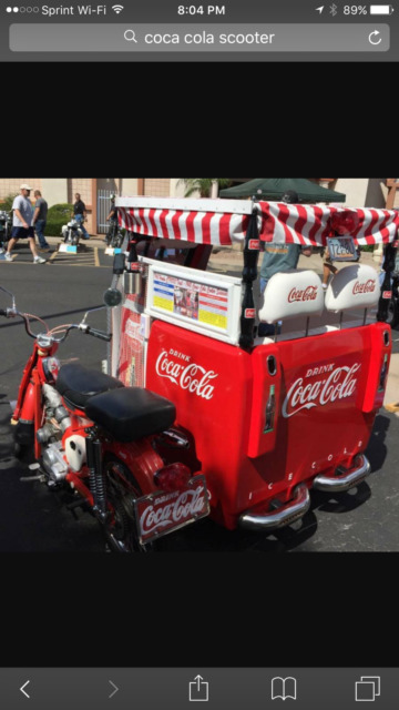 1968 Honda 90 Scooter attached 1948 Coca-Cola Cooler. Business Opportunity