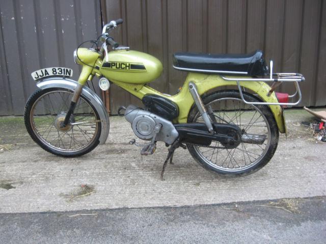 Vintage Retro Puch MV50, 50cc moped motorcycle 1974 original