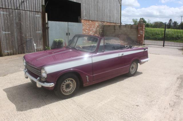 Triumph Herald 13/60 (1968) convertible classic car purple with white slash