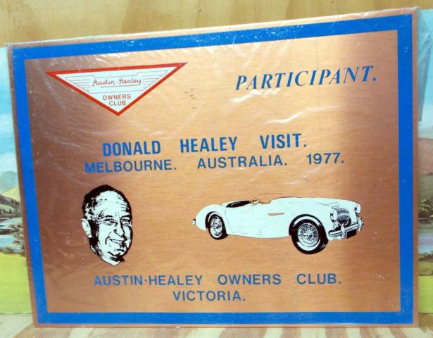 DONALD HEALEY VISIT 1977 COPPER PLAQUE