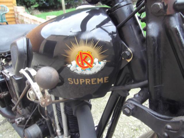 Vintage 1934 OK Supreme Flying Cloud 250cc OHV. V5C. Tidy. Very Rare. Girders